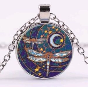 Dragonfly Silver Glass Cabochon Necklace BoHo